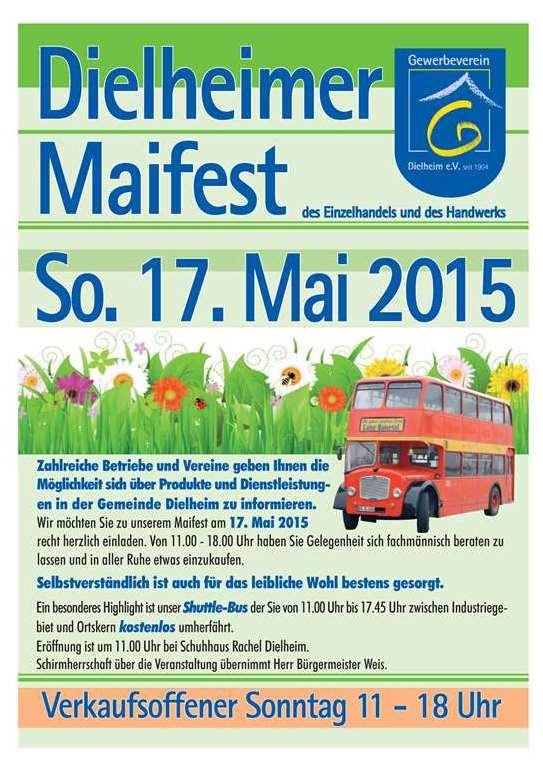 Flyer Dielheimer Maifest 2015 - 2