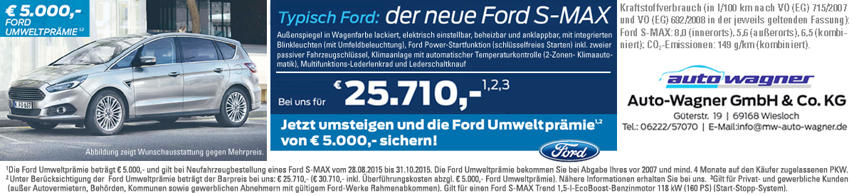 Auto Wagner - der neue Ford S-MAX