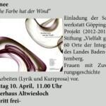 """Matinee """"Welche Farbe hat der Wind"""" – Göppinger Schreibwerkstatt in Wiesloch"""