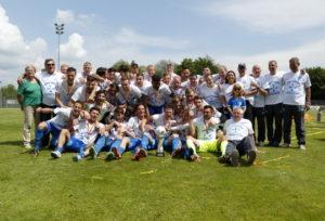 Fussball. Verbandspokal Krombacher Pokal 2016. FCA Walldorf - SpVgg Neckarelz. Siegerfoto. Der FCA Walldorf gewinnt den Krombacherpokal. 28.05.2016 - Jan A. Pfeifer - 01726290959