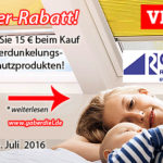 Sparen Sie 15.- € auf Verdunkelungs- & Hitzeschutz von VELUX