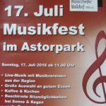 Musikfest im Astorpark am 17. Juli