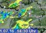 DWD warnt:  Gewitter,  Starkregen und vereinzelnd Hagel bei uns möglich