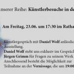 Künstlerbesuche in der Region: Daniel Wolf am 23.06. in Wiesloch