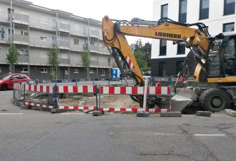 Neuer Kreisel in der Schwetzinger Straße