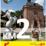 Wiesloch auf Kilometerschild beim Baden-Marathon