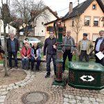 Ortschaftsrat Baiertal freut sich über den restaurierten Brunnen in der Ortsmitte