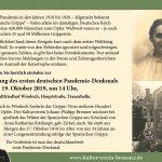 Wiesloch: Einladung Einweihung Pandemiedenkmal 19.10.19