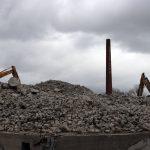 Abbruch Wiesloch Wellpappe – Morgen: Sprengung des Industrie-Schornsteins
